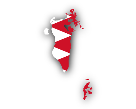 Map and flag of Bahrain