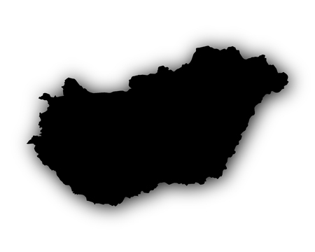 Map of Hungary with shadow