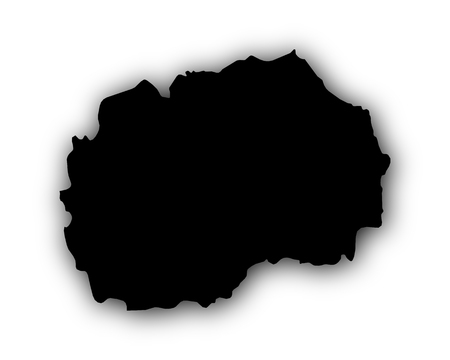 Map of Macedonia with shadow