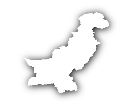 Map of Pakistan with shadow