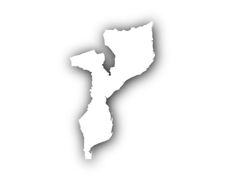 Map of Mozambique with shadow Illustration