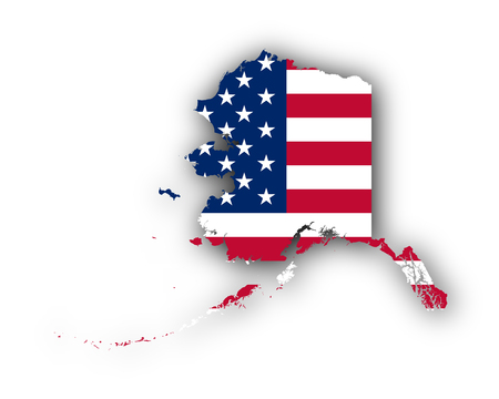 Map and flag of Alaska 版權商用圖片 - 77456747