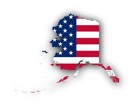 Map and flag of Alaska