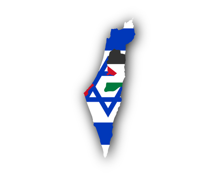 cast: Map and flag of Israel and Palestine Illustration