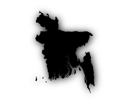 Map of Bangladesh with shadow