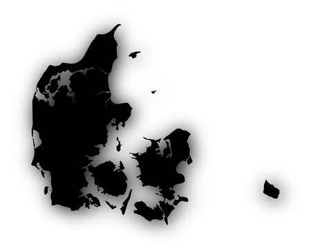 Map of Denmark with shadow