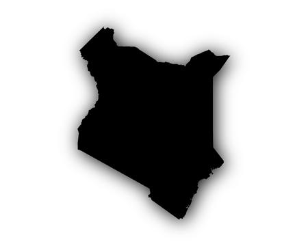 kenya: Map of Kenya with shadow