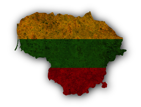 Map and flag of Lithuania on rusty metal Stock Photo