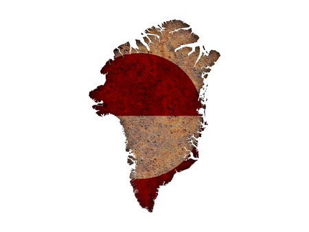 Map and flag of Greenland on rusty metal