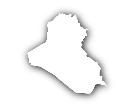 Map of Iraq with shadow