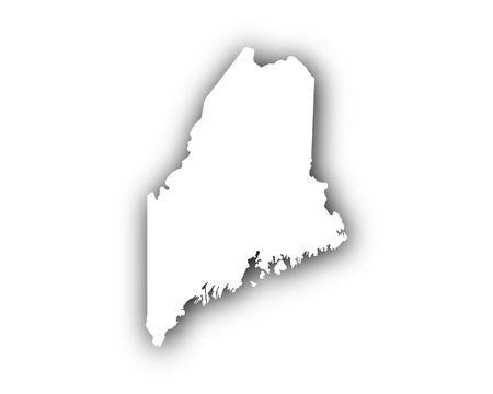 Map of Maine with shadow