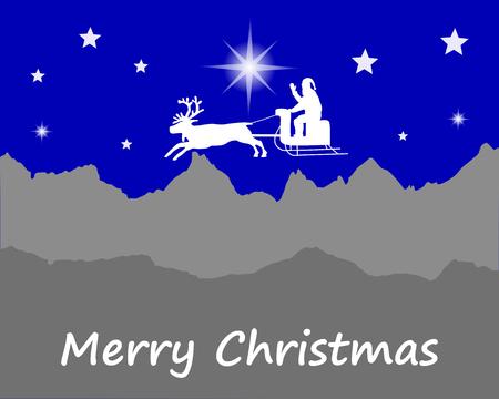 santa sleigh: Santa Claus wishes Happy Christmas Illustration