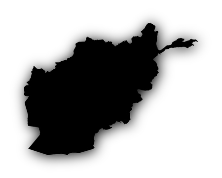 Map of Afghanistan with shadow