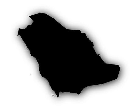 Map of Saudi Arabia with shadow