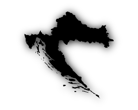 Map of Croatia with shadow Illustration