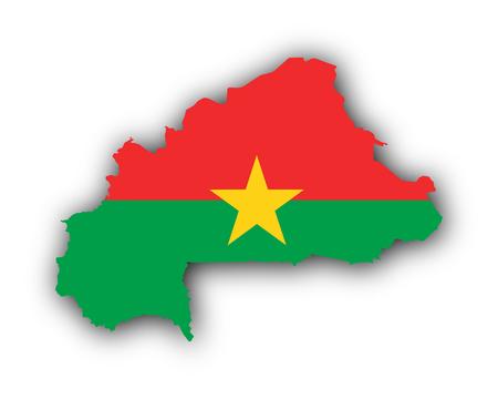 Map and flag of Burkina Faso