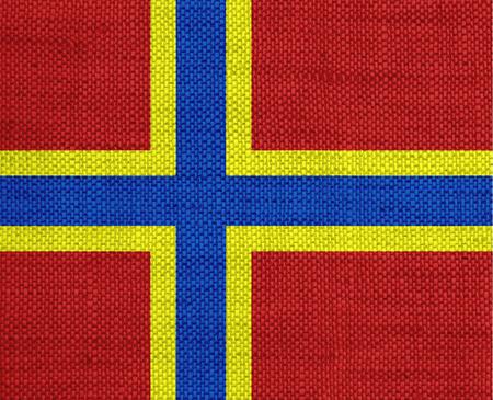 Flag of Orkney Islands on old linen