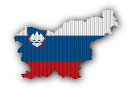 Map and flag of Slovenia on corrugated iron Stock Photo