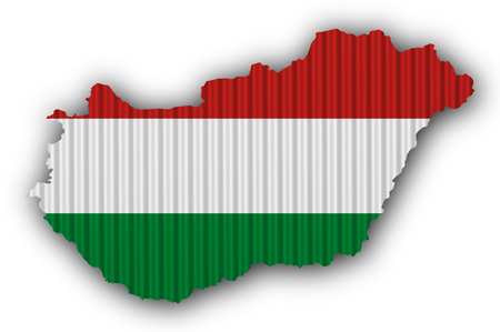 Textured map of Hungary in nice colors