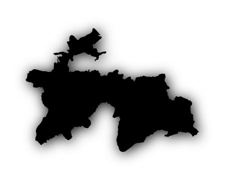 Kaart van Tadzjikistan met schaduw
