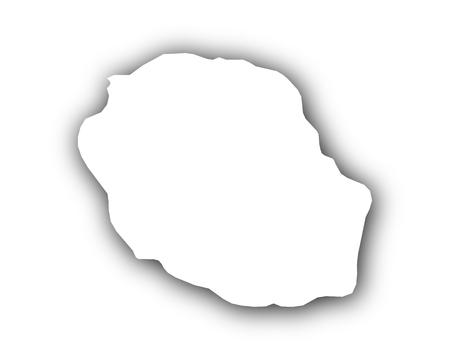 Kaart van Reunion met schaduw