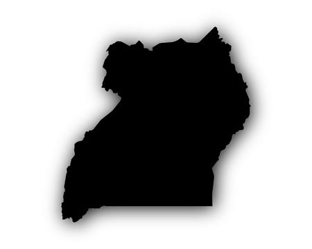 Kaart van Oeganda met schaduw