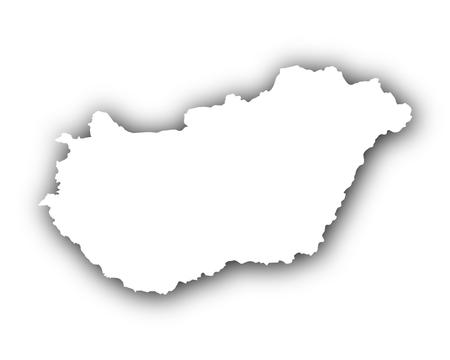 Kaart van Hongarije met schaduw