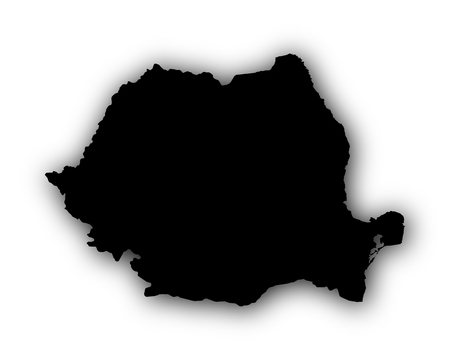 Map of Romania with shadow