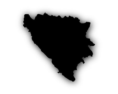 Kaart van Bosnië en Herzegovina met schaduw