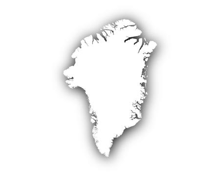 Kaart van Groenland met schaduw
