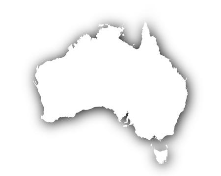 Kaart van Australië met schaduw Stock Illustratie
