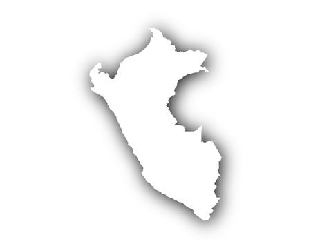 Kaart van Peru met schaduw Stock Illustratie