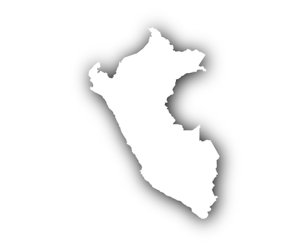Map of Peru with shadow