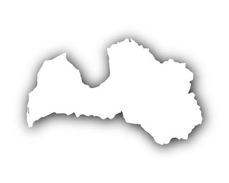 Kaart van Letland met schaduw
