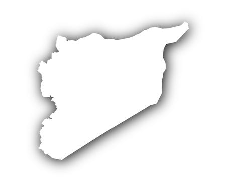 Kaart van Syrië met schaduw