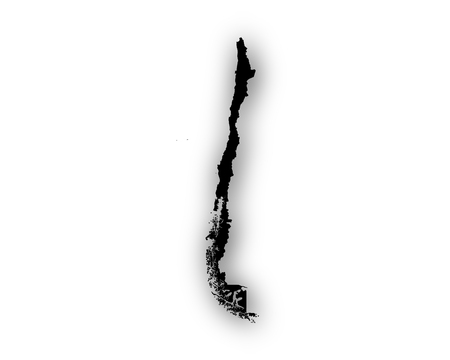 Map of Chile with shadow