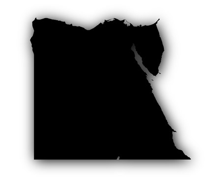 Map of Egypt with shadow