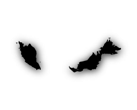 Kaart van Maleisië met schaduw