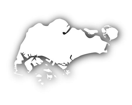 Kaart van Singapore met schaduw Stock Illustratie