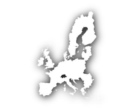 Kaart van de EU met schaduw Stock Illustratie