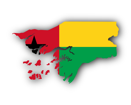 Map and flag of Guinea-Bissau