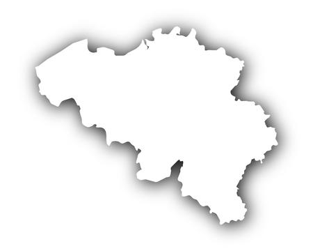 Kaart van België met schaduw Stock Illustratie