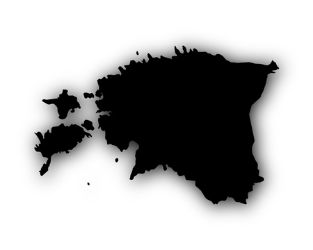 Map of Estonia with shadow