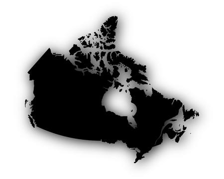 Kaart van Canada met schaduw