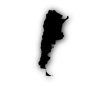 Kaart van Argentinië met schaduw