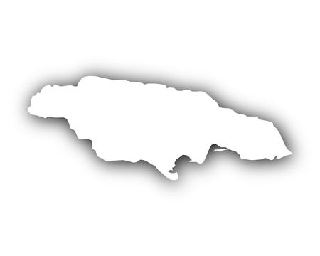 Map of Jamaica with shadow Ilustração