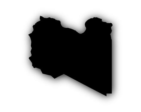 Kaart van Libië met schaduw