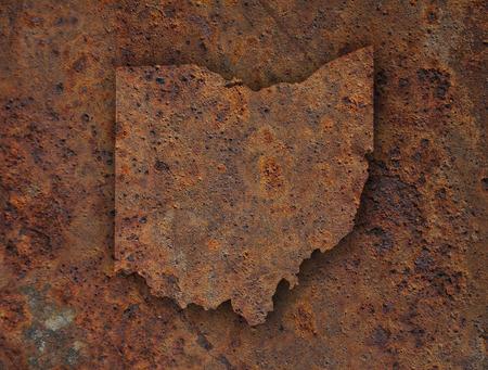 rusts: Map of Ohio on rusty metal