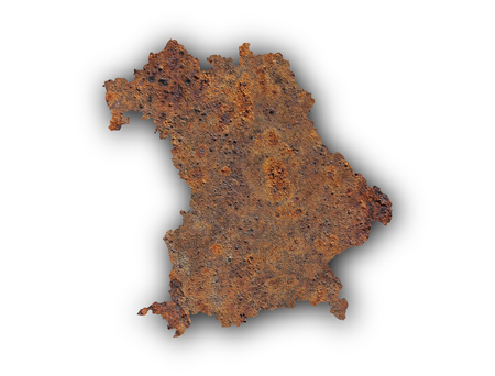 rusts: Map of Bavaria on rusty metal