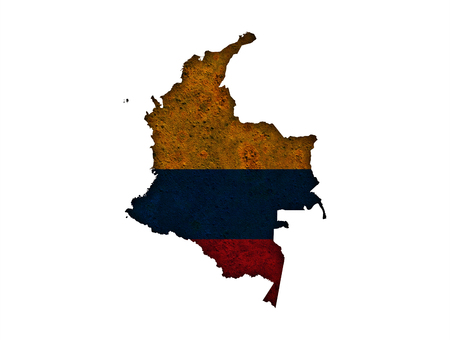 rusts: Map and flag of Colombia on rusty metal